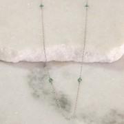Colar de Prata 925 Longo Ponto de Luz Jade Verde