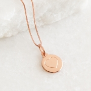 Colar de Prata 925 Placa Coração Banho Ouro Rose
