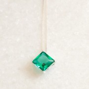 Colar de Prata 925 Quadradinho Jade Verde