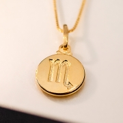 Colar de Prata 925 Signo Escorpião Banho Ouro 18K