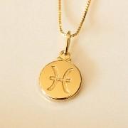 Colar de Prata 925 Signo Peixes Banho em Ouro 18K