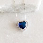 Colar Prata 925 Pequeno Coração Safira