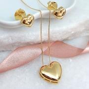 Conjunto de brinco e colar Coração Banho Ouro 18K