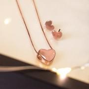Conjunto de brinco e colar de Prata 925 Coração Splendeur Ouro Rose