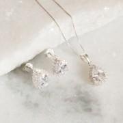 Conjunto de Prata 925 Gota Cristal