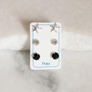 Mix de Brincos de Prata 925 Branco e Preto