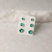 Mix de Brincos de Prata 925 Jade Verde