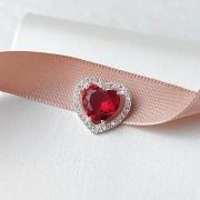 Pingente de Prata 925 Pequeno Coração Rubi