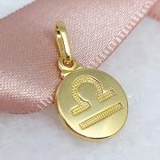 Pingente de Prata 925 Signo Libra Banho Ouro 18k
