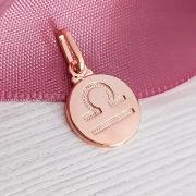 Pingente de Prata 925 Signo Libra Banho Ouro Rose