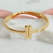 Pulseira Bracelete Tiffany Banho Ouro