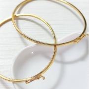 Bracelete de Prata 925  1mm Aro Quadrado Banho Ouro 18k