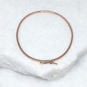 Bracelete de Prata 925  1mm Aro Quadrado Banho Ouro Rosê