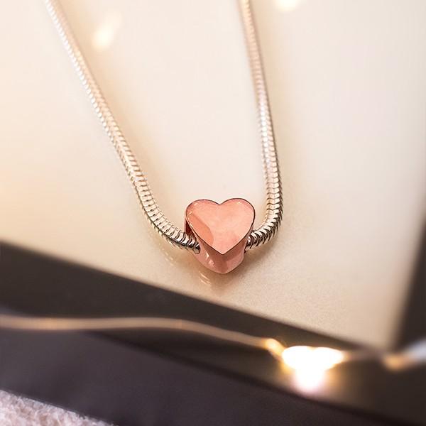 Berloque de Prata 925 Coração Banho Ouro Rose