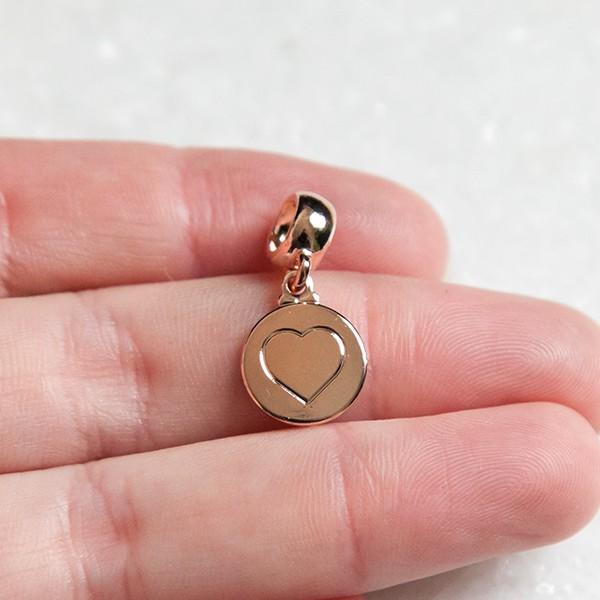 Berloque de Prata 925 Placa Coração Banho Ouro Rose