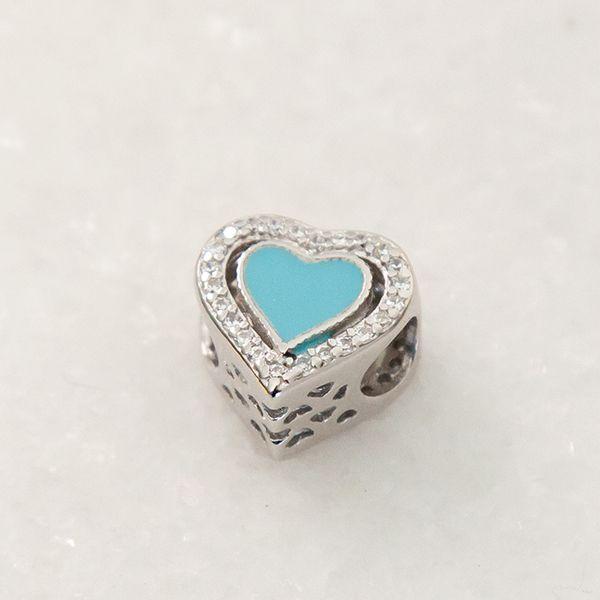 Berloque de Prata 925 Coração Cravejado Azul