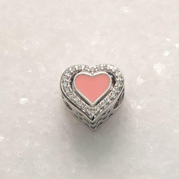Berloque de Prata 925 Coração Cravejado Rosa