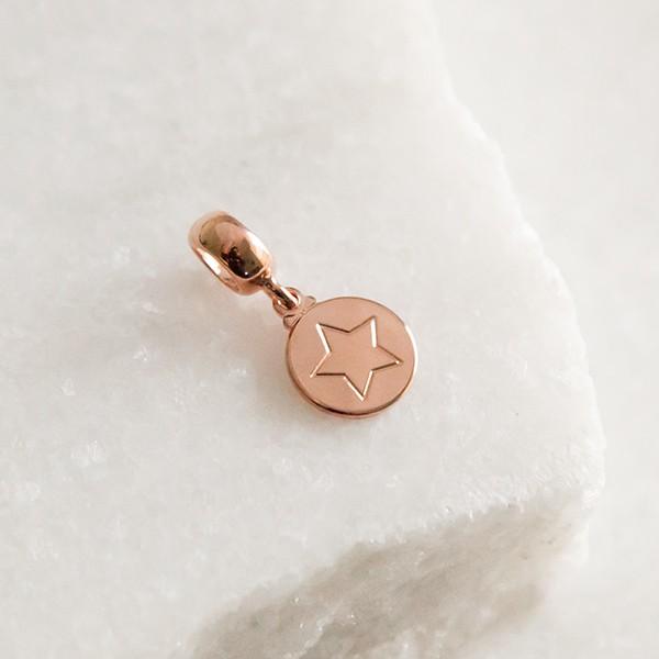 Bracelete de Prata 925 Estrela Banho Ouro Rose