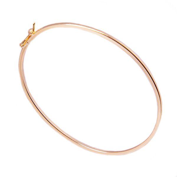Pulseira de Prata 925 Bracelete 1mm Aro Quadrado Banho Ouro Rosê