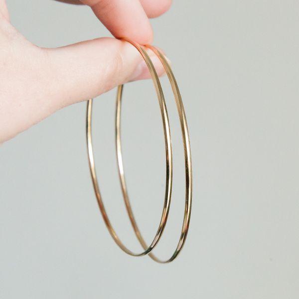 Brinco de Argola de Prata 925 7 cm de diâmetro 2mm Banho Ouro 18K