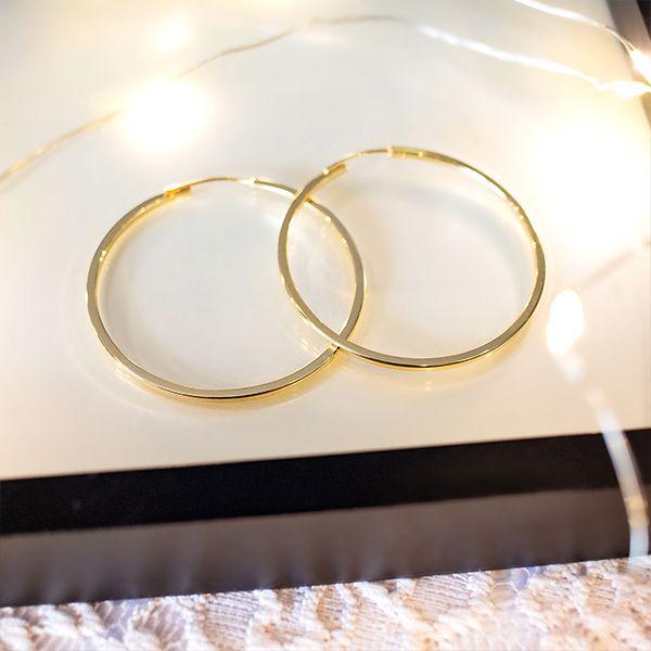 Brinco de Argola de Prata 925 4cm Banho Ouro 18K