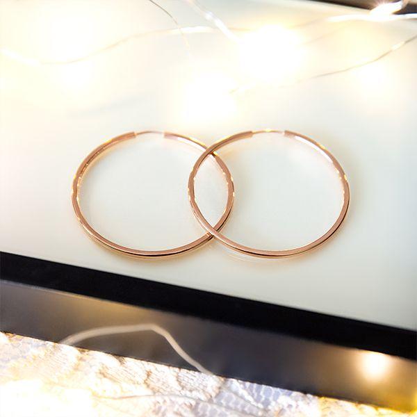 Brinco de Argola de Prata Medio 4 cm de diâmetro Banho Ouro Rosé