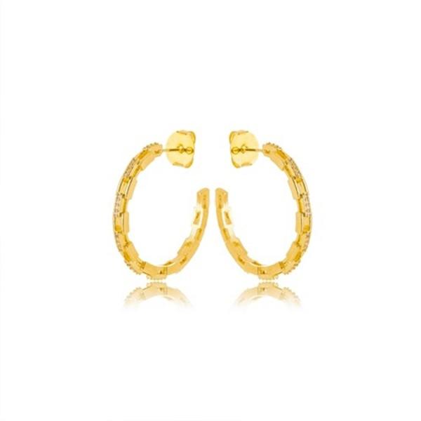 Brinco de Argola 3cm Elos Cravejado Banho Ouro Amarelo 18K