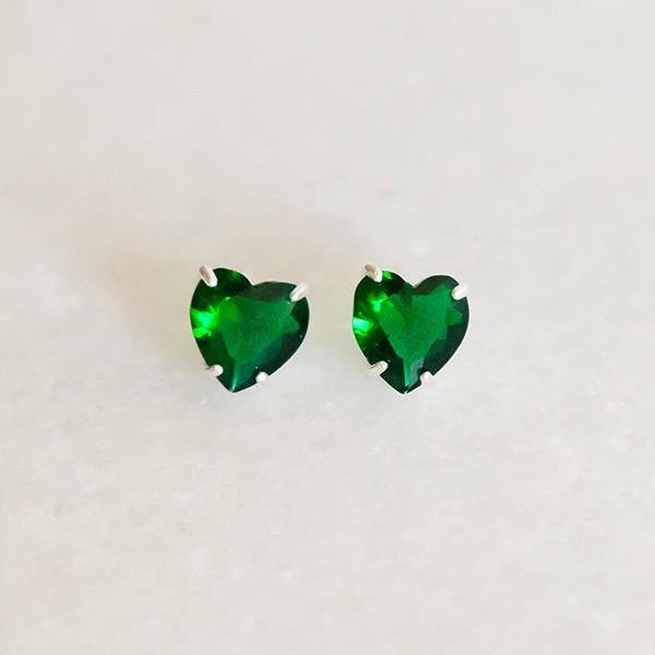 Brinco de Prata 925 Coração Esmeralda