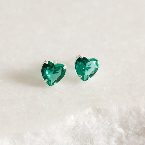 Brinco de Prata 925 Coração Jade Verde
