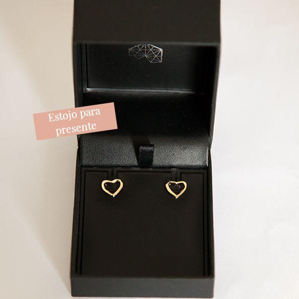 Brinco de Prata 925 Coração Vazado Banho Ouro 18K