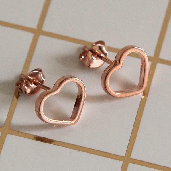 Brinco de Prata 925 Coração Vazado Banho Ouro Rose