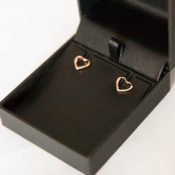 Brinco de Prata 925 Coração Vazado Banho Ouro Rosê