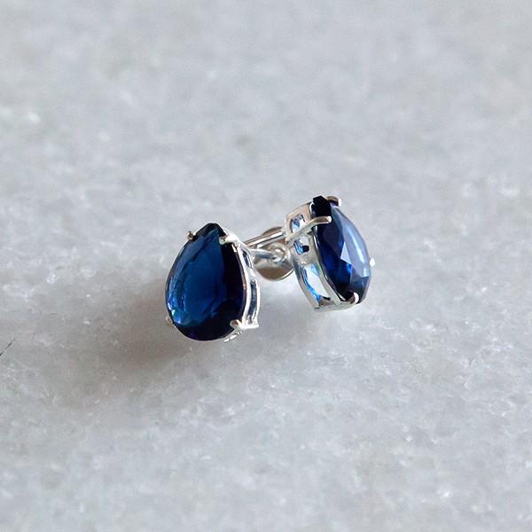 Brinco de Prata 925 Gota Azul Escuro