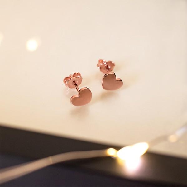 Brinco de Prata 925 Mini Coração Banho Ouro Rosê