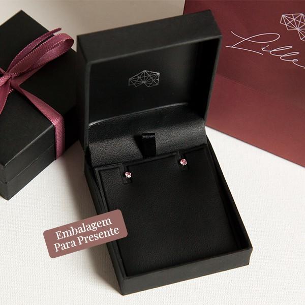 Brinco de Prata 925 Ponto de Luz 3mm Quartzo Rosa