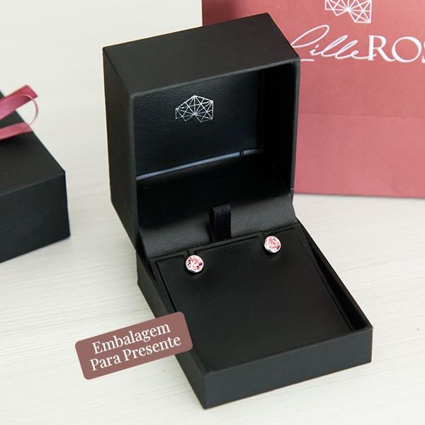 Brinco de Prata 925 Ponto de Luz 6mm Quartzo Rosa
