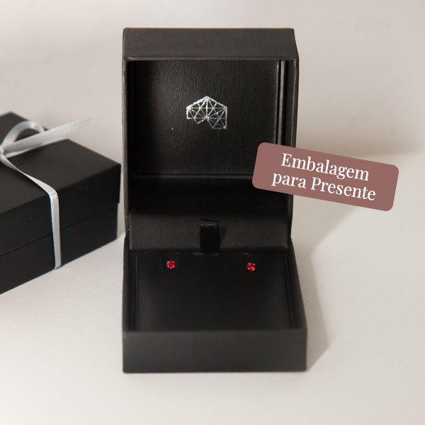 Brinco de Prata 925 Ponto de Luz Vermelho 3mm