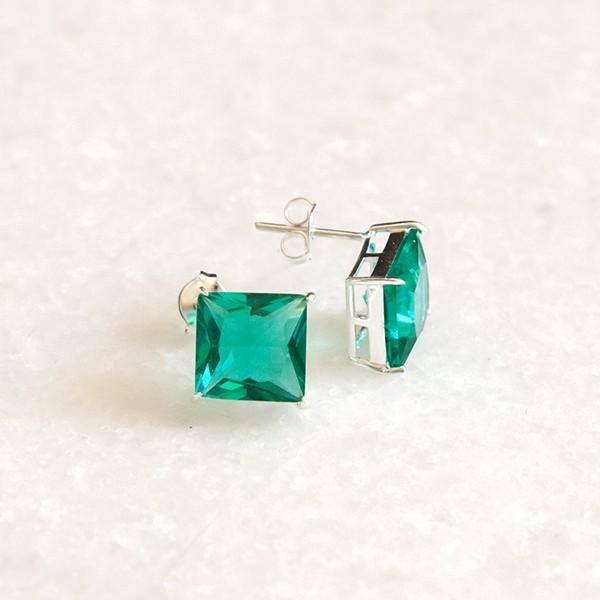 Brinco de Prata 925 Quadradinho Jade Verde