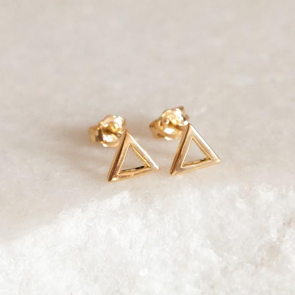Brinco de Prata 925 Triângulo Banho Ouro 18K