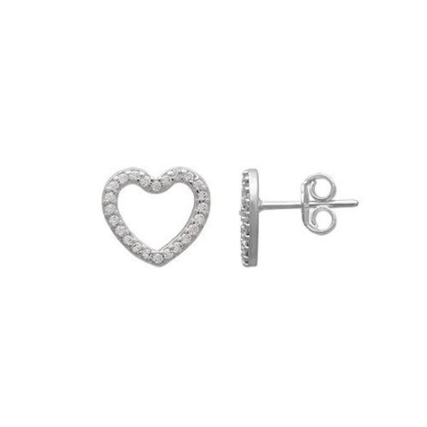 Brinco de Prata 925 Coração Cravejado de Zircônias