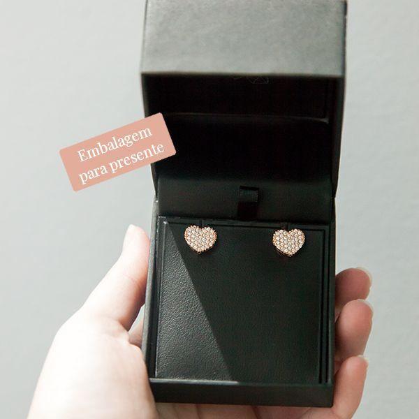 Brinco de Prata 925 de coração com Zircônia Banho Ouro Rose