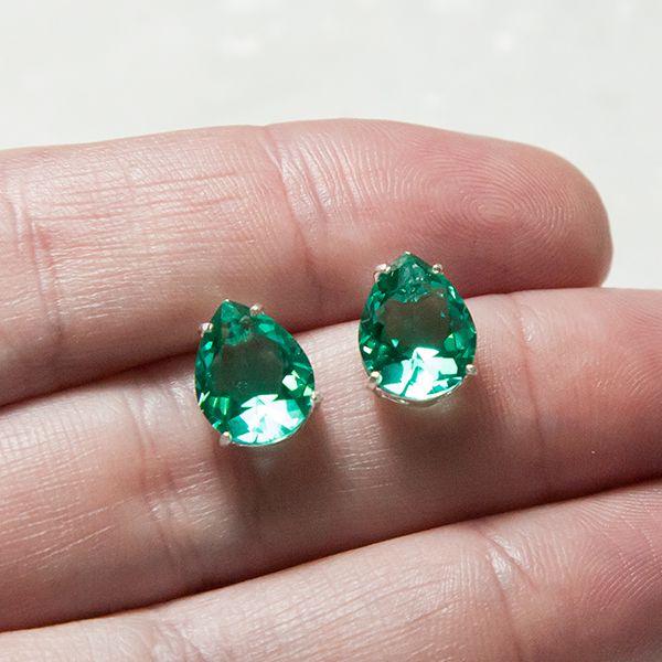 Brinco de Prata 925 Gota Jade Verde