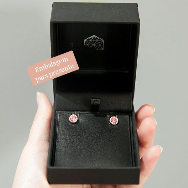 Brinco de Prata Ponto de Luz Rosa 0,6cm