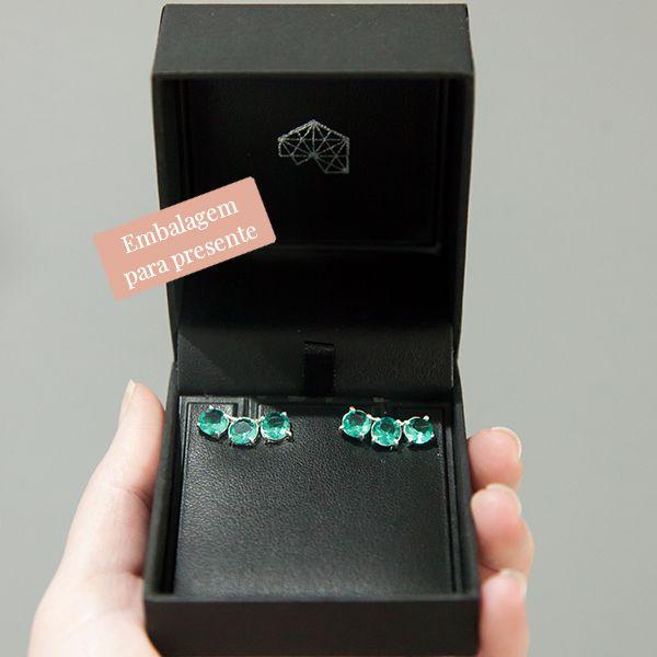 Brinco Ear Cuff de Prata 925 Jade Verde