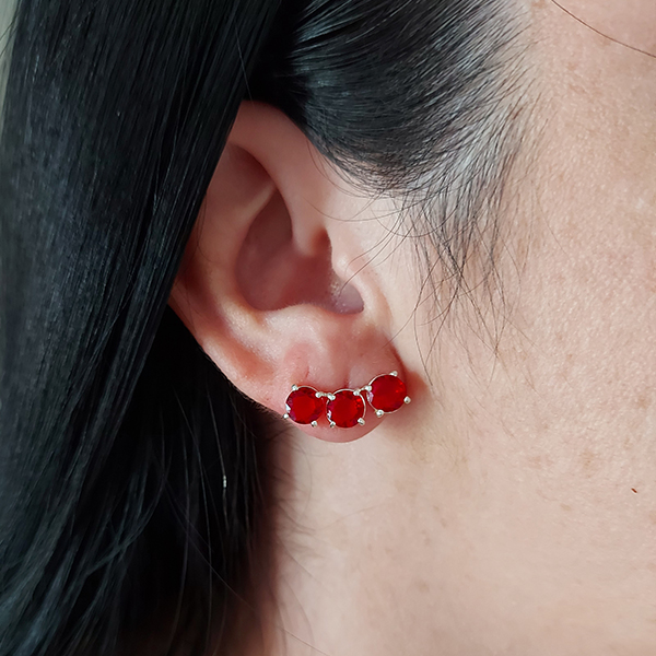 Brinco Ear Cuff de Prata 925 Rubi