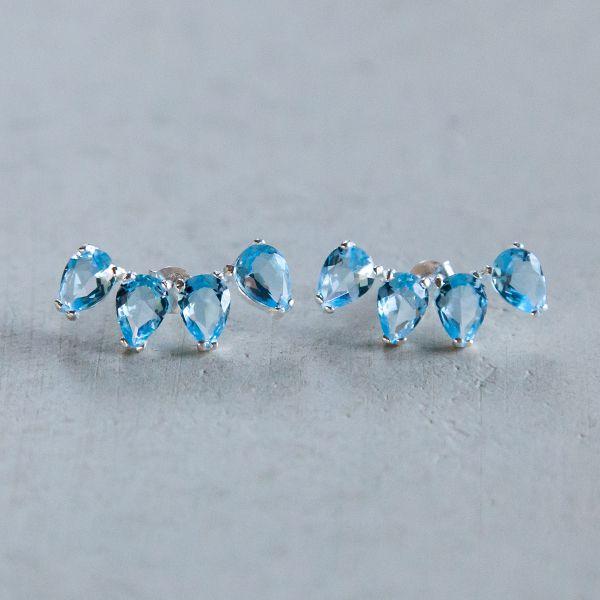 Brinco Ear Cuff de Prata Azul Claro
