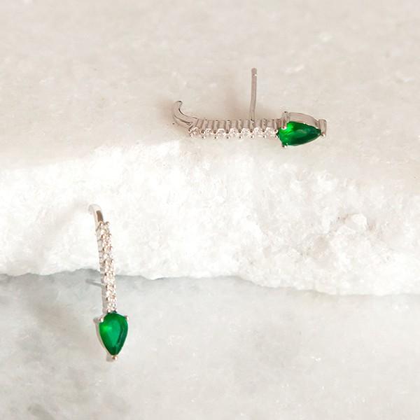 Brinco Ear Hook de Prata 925 Esmeralda e Cristal