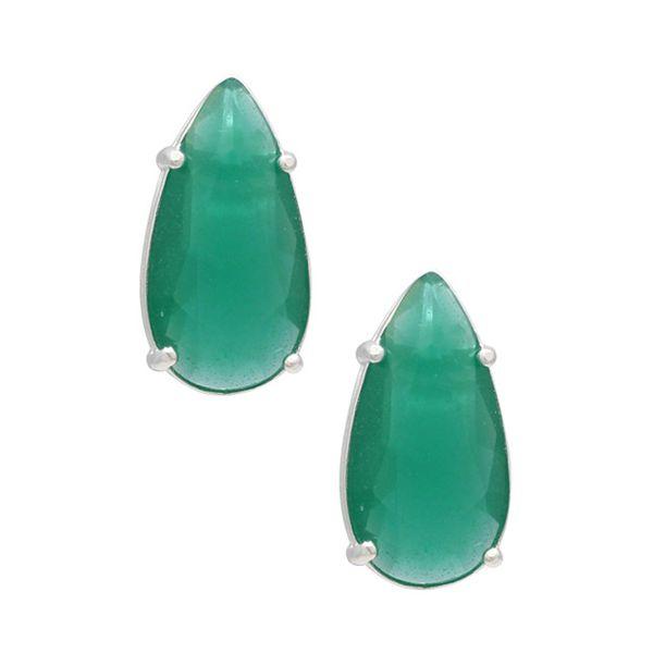Brinco de Prata 925 Gota Jade Verde Leitosa
