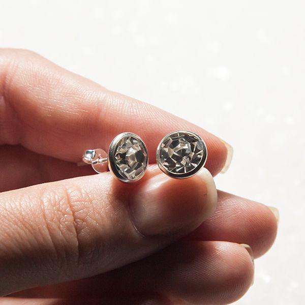 Brinco de Prata 925 Ponto de Luz com Zircônia 1,0cm Ródio Branco