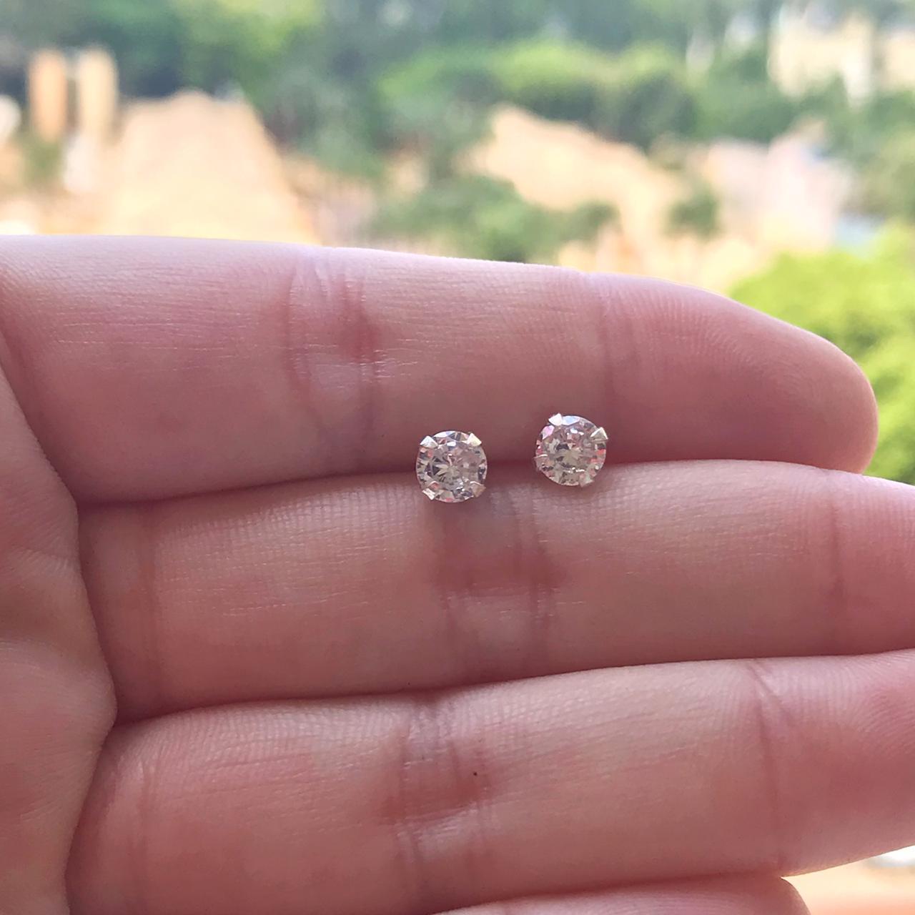 Brinco Prata 925 Solitário Zircônia 0,5cm